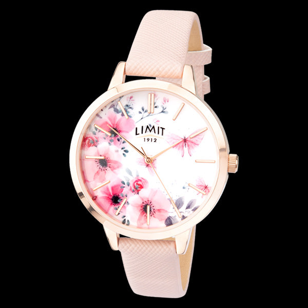 LIMIT SECRET GARDEN FLORAL DIAL ROSE GOLD PINK LEATHER WATCH