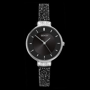 SEKSY LADIES ROCKS SILVER BLACK CRYSTAL BRACELET WATCH