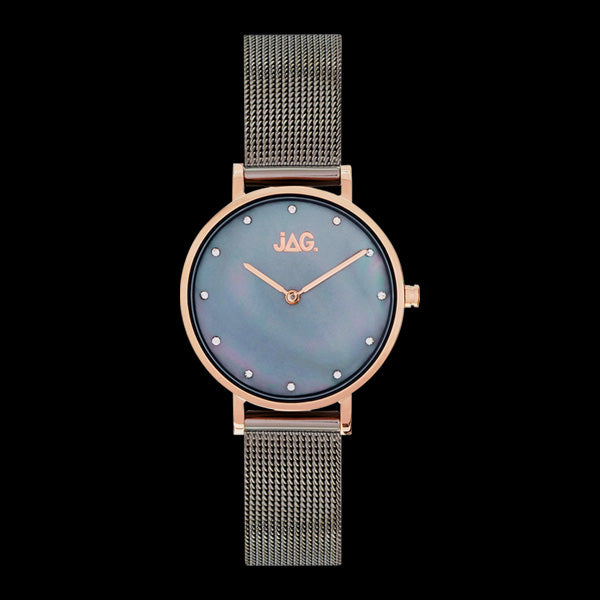JAG LADIES NIKKI ROSE GOLD GUNMETAL MOTHER OF PEARL DIAL WATCH