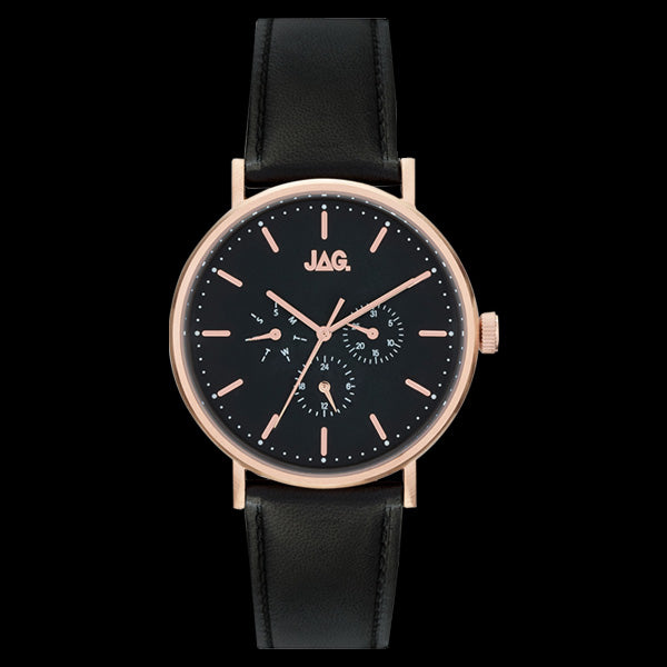 JAG MEN'S COOPER ROSE GOLD & BLACK LEATHER WATCH