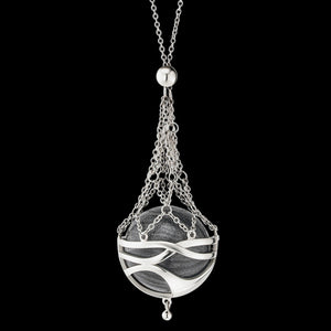ENGELSRUFER SILVER PARADISE BASKET GREY PEARL MEDIUM 80CM SOUNDBALL NECKLACE