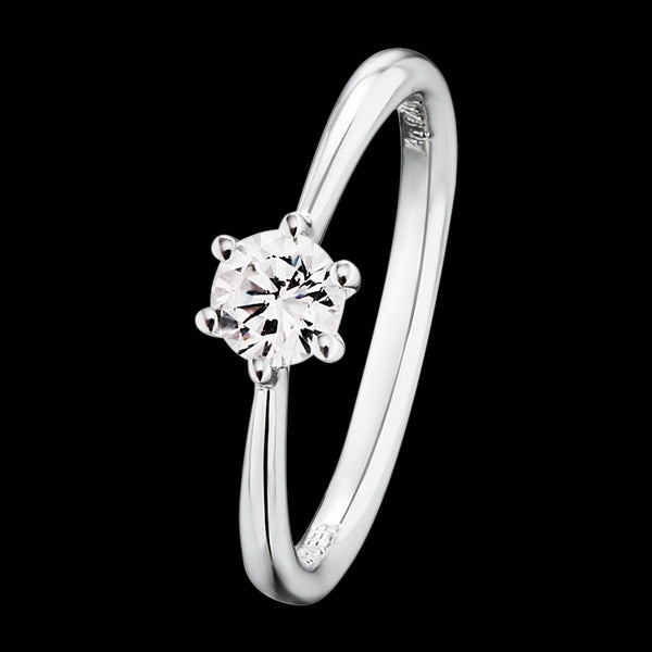 ENGELSRUFER SILVER SHINY SOLITAIRE CZ RING