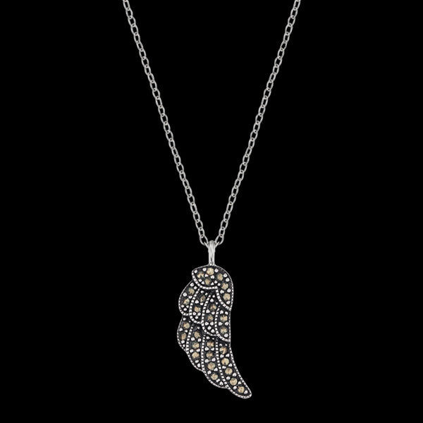 ENGELSRUFER SILVER MARCASITE LITTLE WING NECKLACE