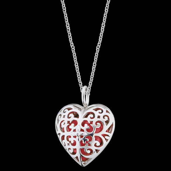 ENGELSRUFER SILVER ROSE GOLD HEART SOUNDBALL NECKLACE FRONT