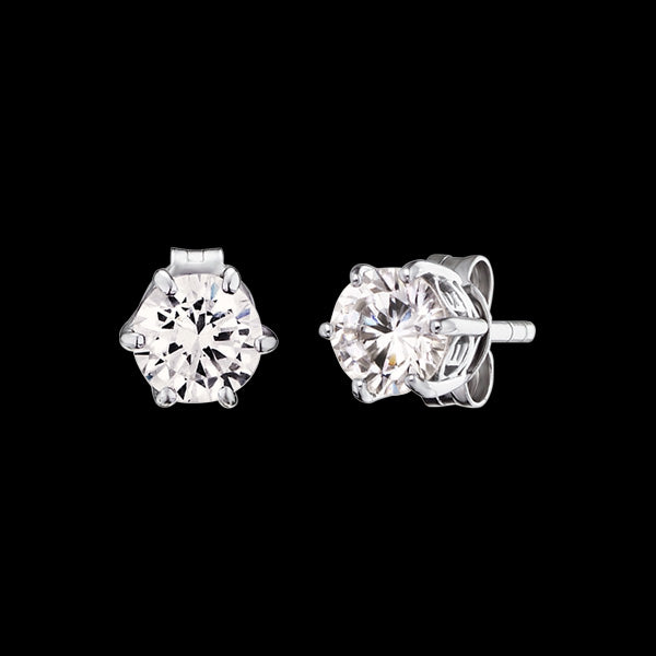 ENGELSRUFER SILVER SHINY SOLITAIRE CZ STUD EARRINGS