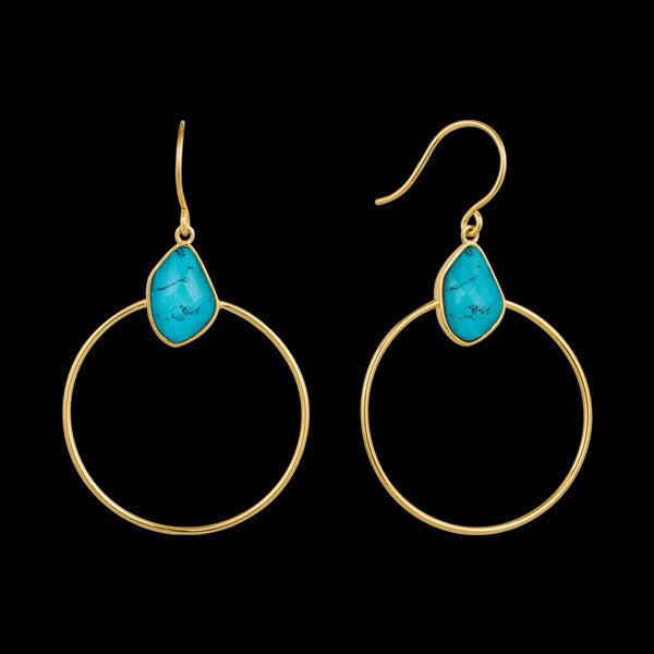 ANIA HAIE MINERAL GLOW GOLD TURQUOISE FRONT HOOP EARRINGS