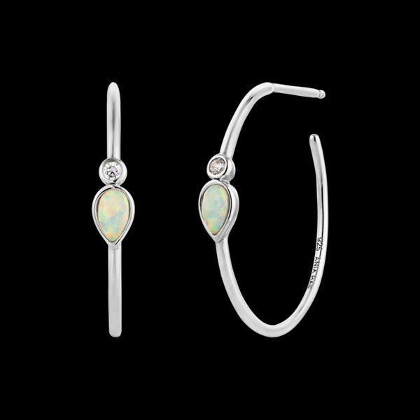 ANIA HAIE MINERAL GLOW SILVER OPAL COLOUR RAINDROP HOOP EARRINGS