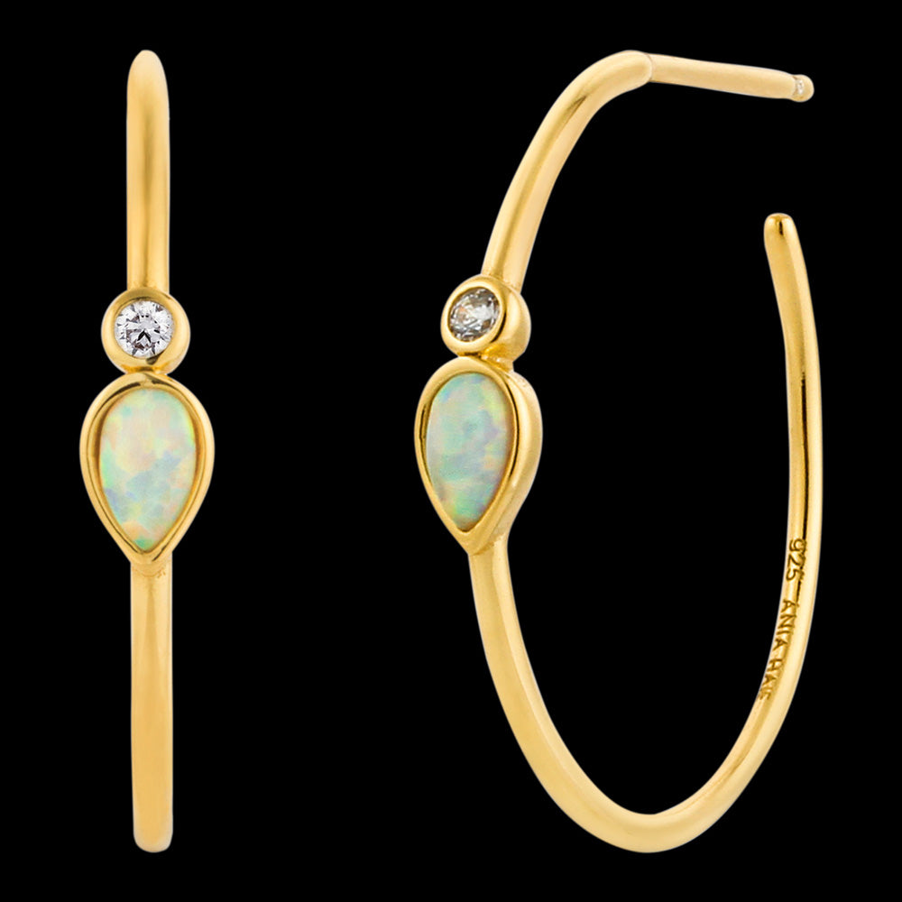 ANIA HAIE MINERAL GLOW GOLD OPAL COLOUR RAINDROP HOOP EARRINGS