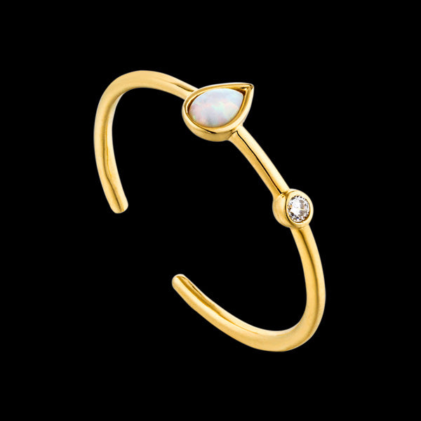 ANIA HAIE MINERAL GLOW GOLD OPAL COLOUR RAINDROP ADJUSTABLE RING