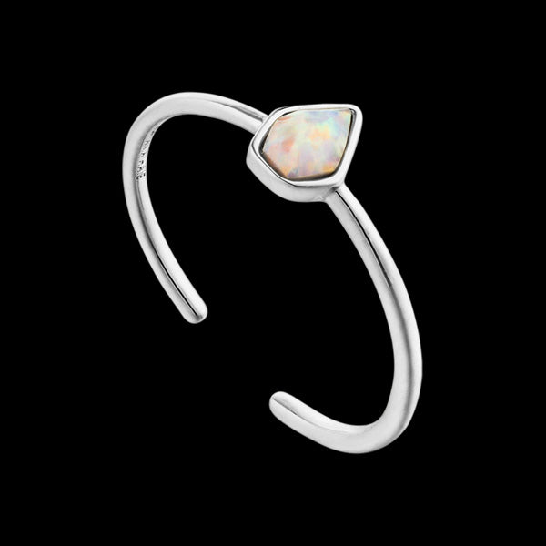 ANIA HAIE MINERAL GLOW SILVER OPAL COLOUR ADJUSTABLE RING