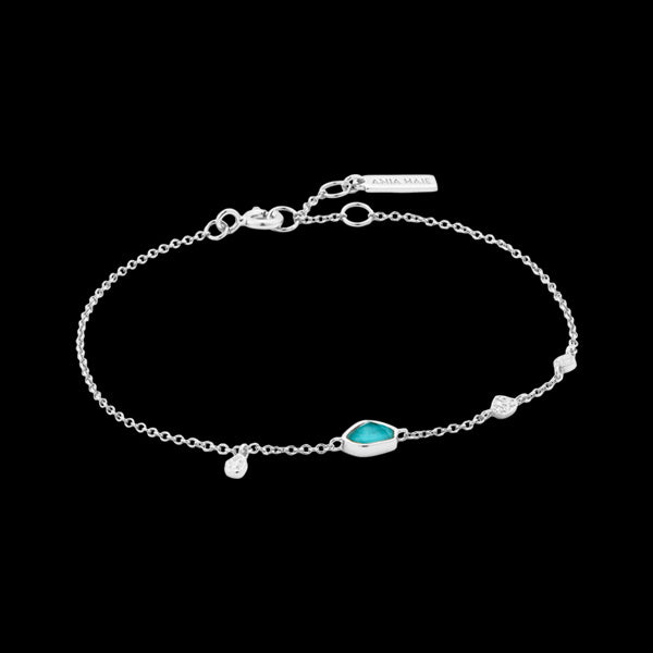ANIA HAIE MINERAL GLOW SILVER TURQUOISE DISCS BRACELET