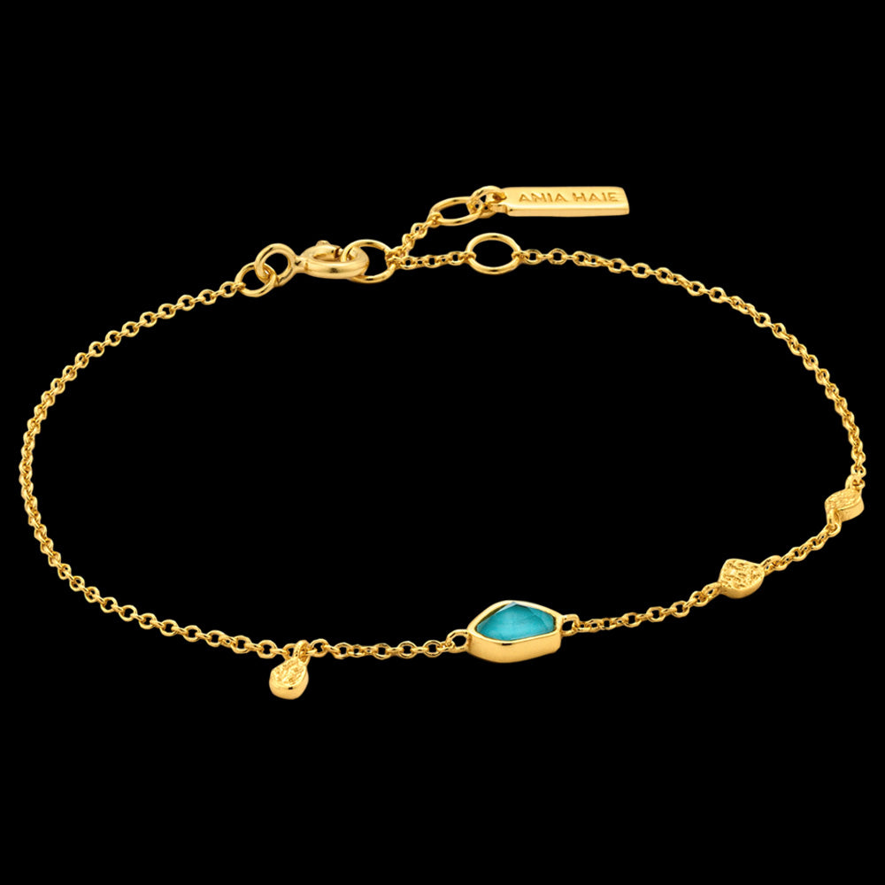 ANIA HAIE MINERAL GLOW GOLD TURQUOISE DISCS BRACELET