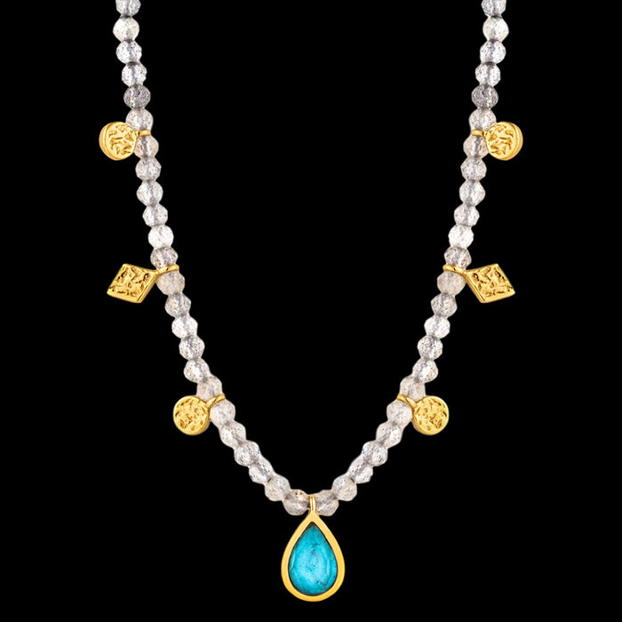 ANIA HAIE MINERAL GLOW GOLD TURQUOISE LABRADORITE 33-38CM NECKLACE
