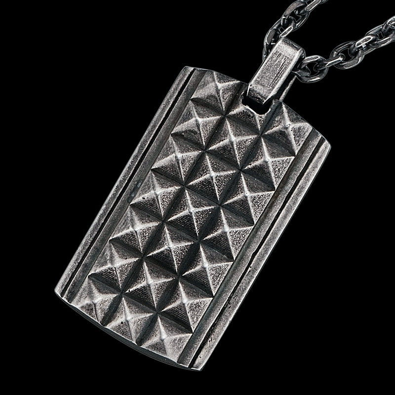 SAVE BRAVE MEN'S PHILLIP STAINLESS STEEL GUNMETAL PYRAMID DOG TAG NECKLACE