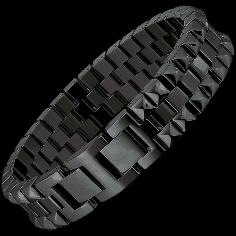 SAVE BRAVE MEN'S STEVEN BLACK IP STAINLESS STEEL PYRAMID BRACELET
