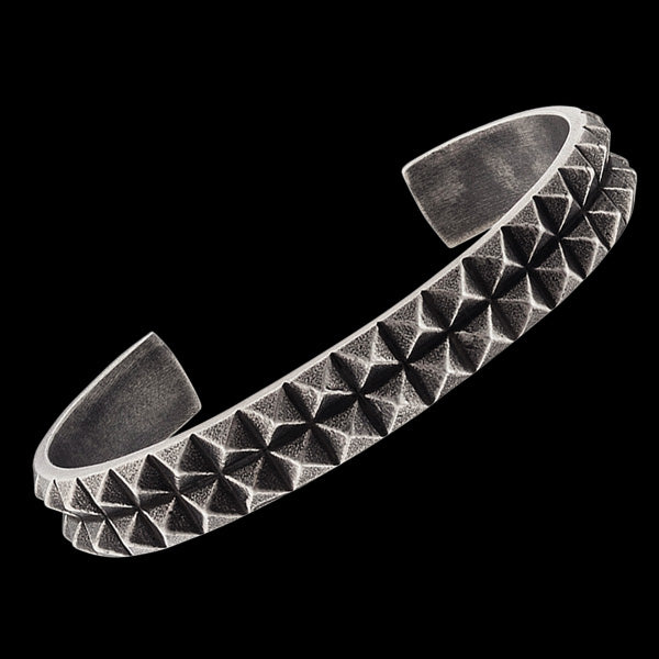 SAVE BRAVE MEN'S PHILLIP PYRAMID GUNMETAL STAINLESS STEEL CUFF BRACELET