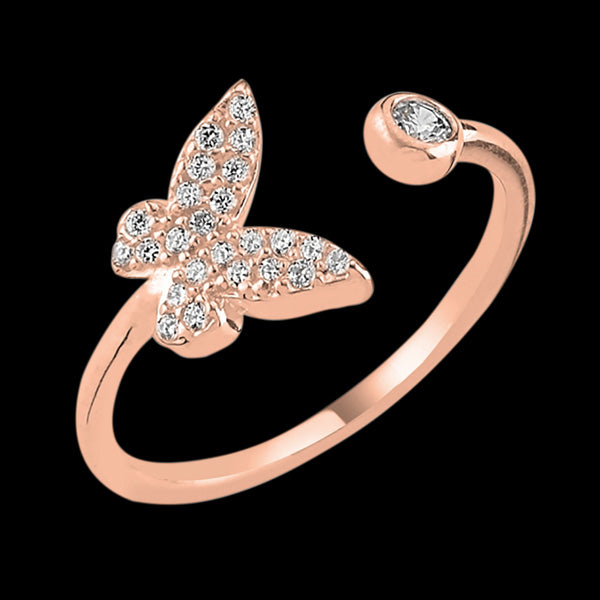 LUXXURY STERLING SILVER ROSE GOLD BUTTERFLY PAVE CZ ADJUSTABLE RING