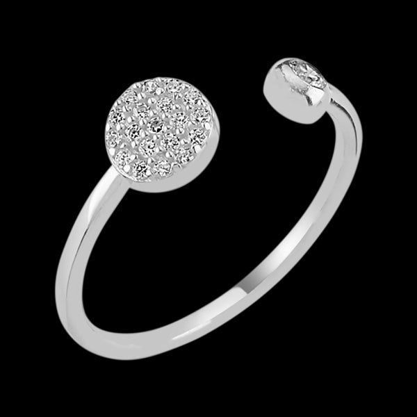 LUXXURY STERLING SILVER CIRCLE PAVE CZ ADJUSTABLE RING