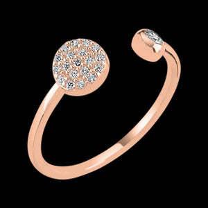 LUXXURY STERLING SILVER ROSE GOLD CIRCLE PAVE CZ ADJUSTABLE RING