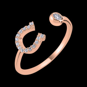 LUXXURY STERLING SILVER ROSE GOLD HORSESHOE PAVE CZ ADJUSTABLE RING