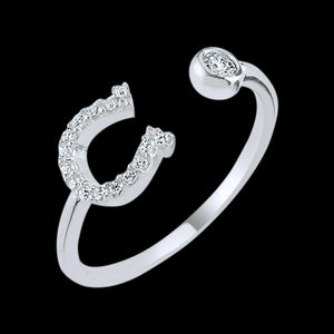 LUXXURY STERLING SILVER HORSESHOE PAVE CZ ADJUSTABLE RING