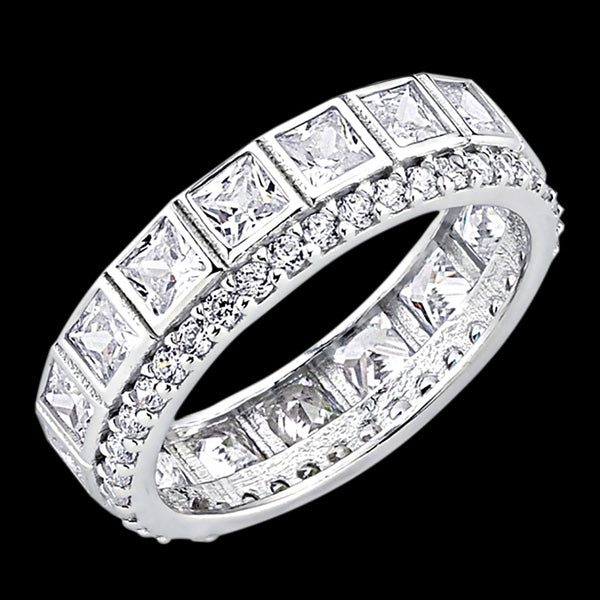 LUXXURY STERLING SILVER BAGUETTE ETERNITY RING