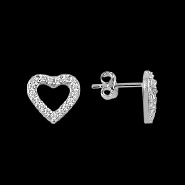LUXXURY STERLING SILVER OPEN HEART PAVE CZ EARRINGS