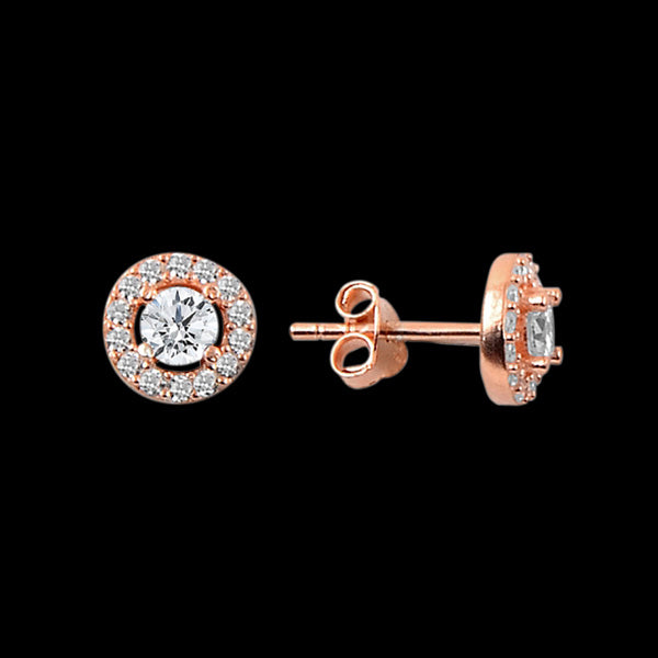 LUXXURY STERLING SILVER ROSE GOLD CIRCLE SOLITAIRE HALO CZ EARRINGS