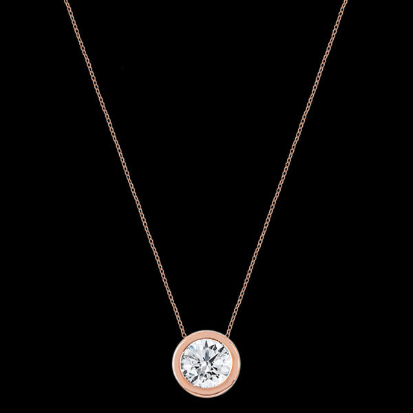 LUXXURY STERLING SILVER ROSE GOLD SOLITAIRE BEZEL CZ NECKLACE