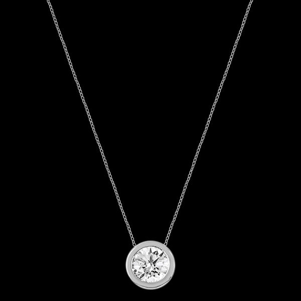 LUXXURY STERLING SILVER SOLITAIRE BEZEL CZ NECKLACE