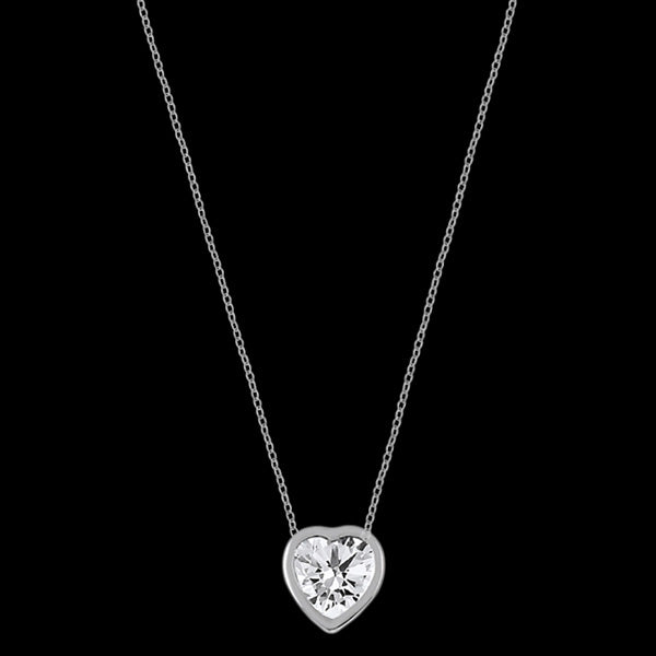 LUXXURY STERLING SILVER HEART SOLITAIRE BEZEL CZ NECKLACE