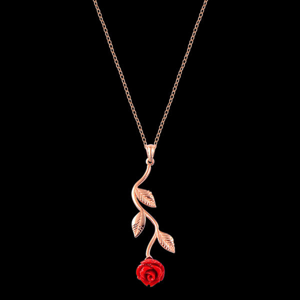 LUXXURY STERLING SILVER ROSE GOLD RED ROSE NECKLACE
