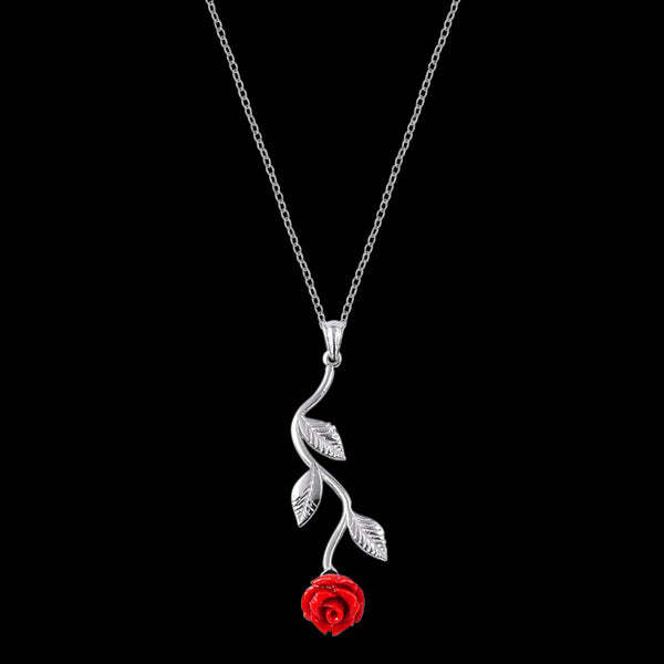 LUXXURY STERLING SILVER RED ROSE NECKLACE