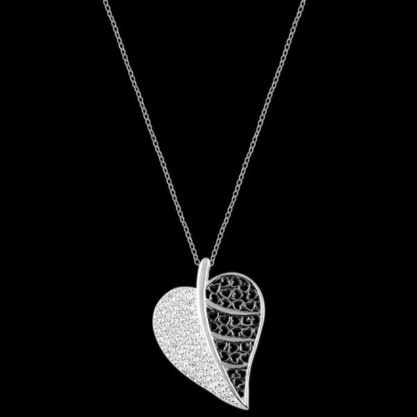 LUXXURY STERLING SILVER HEART LEAF FILIGREE PAVE CZ NECKLACE