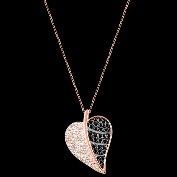 LUXXURY STERLING SILVER ROSE GOLD HEART LEAF FILIGREE PAVE CZ NECKLACE