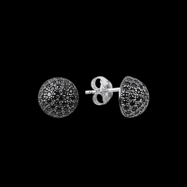 LUXXURY STERLING SILVER DOME BLACK PAVE CZ EARRINGS