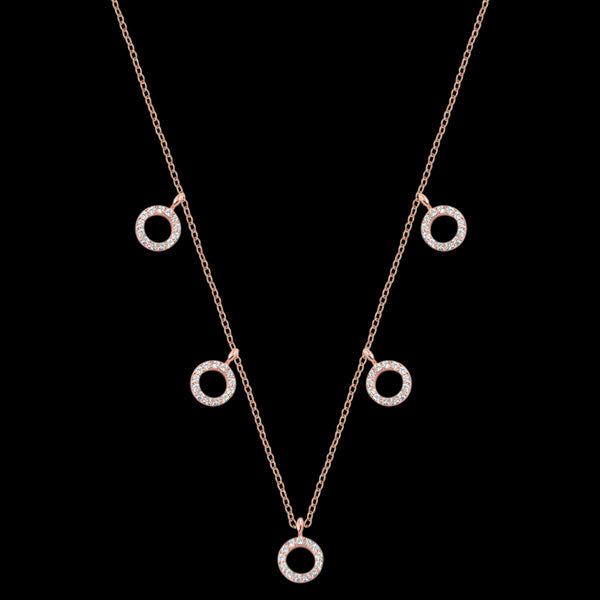 LUXXURY STERLING SILVER ROSE GOLD FIVE CIRCLES PAVE CZ NECKLACE