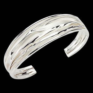 LUXXURY STERLING SILVER 20MM WIDE RIPPLE WAVE CUFF BRACELET