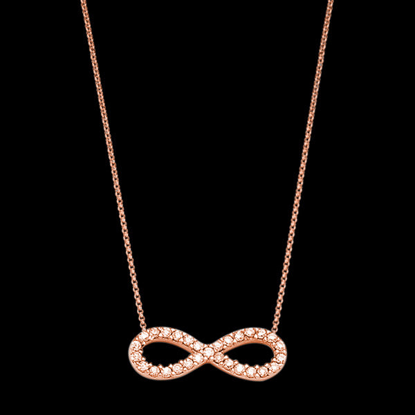 LUXXURY STERLING SILVER SMALL ROSE GOLD INFINITY PAVE CZ NECKLACE