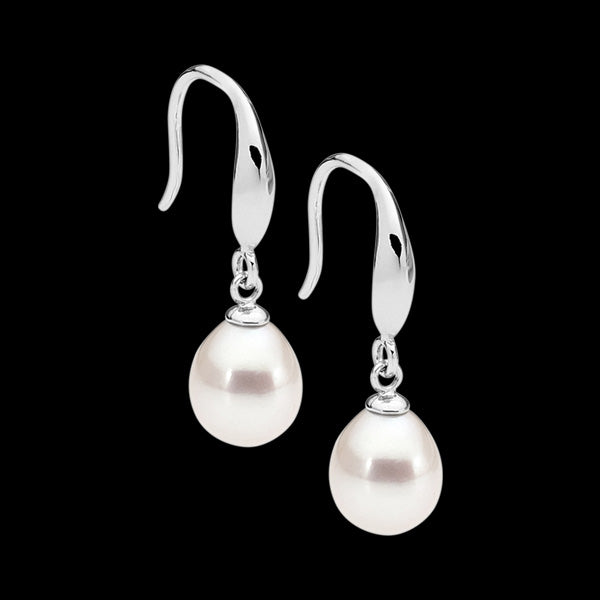ELLANI STERLING SILVER DROP OVAL PEARL EARRINGS