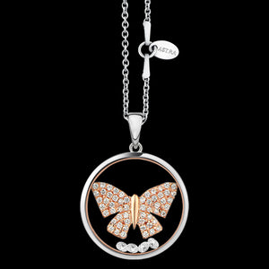 ASTRA TRANQUIL BUTTERFLY 20MM CIRCLE STERLING SILVER ROSE GOLD NECKLACE