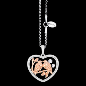 ASTRA LOVE BIRDS 20MM HEART STERLING SILVER ROSE GOLD NECKLACE