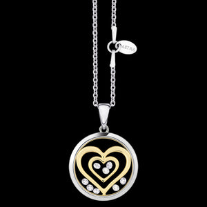ASTRA DOUBLE HEART 16MM CIRCLE STERLING SILVER GOLD NECKLACE