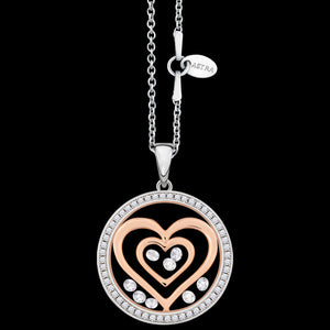 ASTRA DOUBLE HEART 20MM CZ CIRCLE STERLING SILVER ROSE GOLD NECKLACE