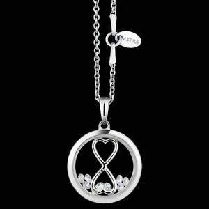 ASTRA INFINITY HEART 16MM CIRCLE STERLING SILVER NECKLACE