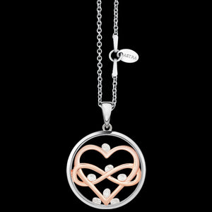 ASTRA LOVE EVERLASTING 20MM CIRCLE STERLING SILVER ROSE GOLD NECKLACE