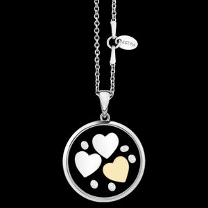ASTRA TRIPLE HEART 20MM CIRCLE STERLING SILVER GOLD NECKLACE