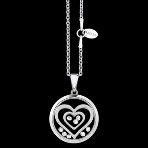 ASTRA DOUBLE HEART 16MM CIRCLE STERLING SILVER NECKLACE