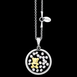 ASTRA TEDDY BEAR 16MM CIRCLE STERLING SILVER GOLD NECKLACE