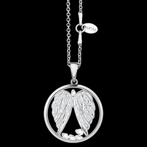 ASTRA GUARDIAN ANGEL WINGS 20MM CIRCLE STERLING SILVER NECKLACE